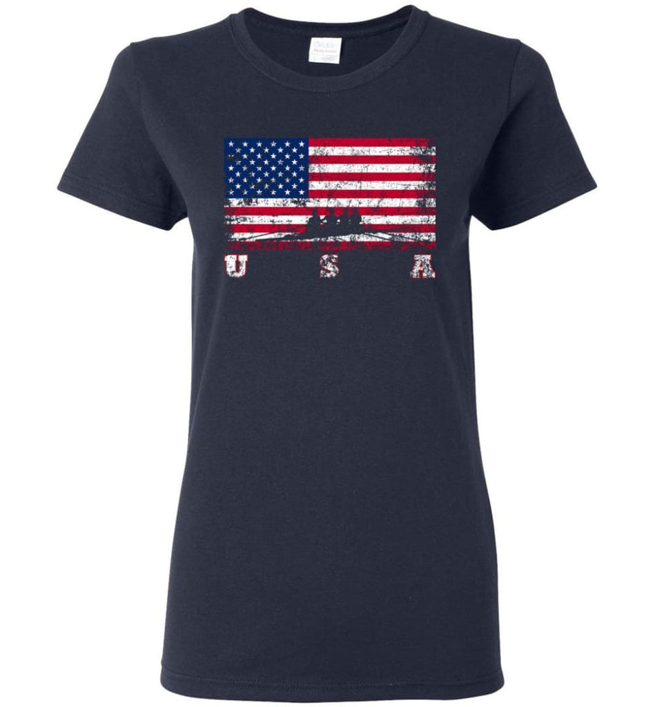 American Flag Rowing Women Tee - Navy / M