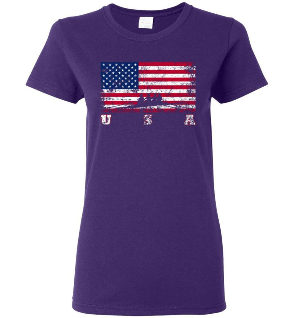 American Flag Rowing Women Tee - Purple / M