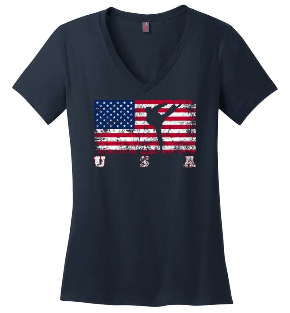 American Flag Rugby Sevens Ladies V-Neck - Navy / M