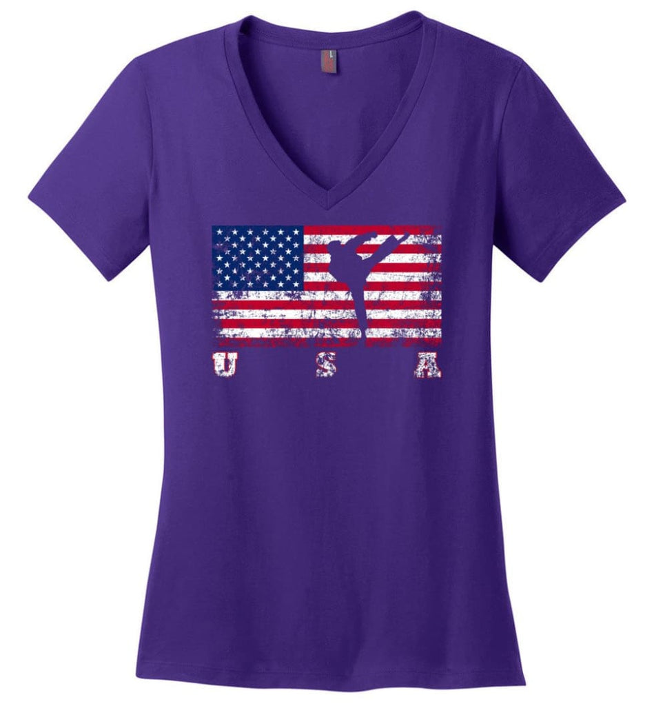 American Flag Rugby Sevens Ladies V-Neck - Purple / M