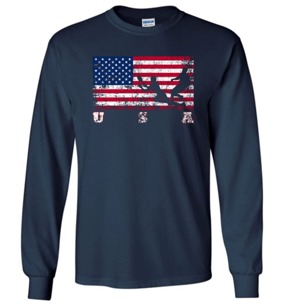 American Flag Rugby Sevens - Long Sleeve T-Shirt - Navy / M