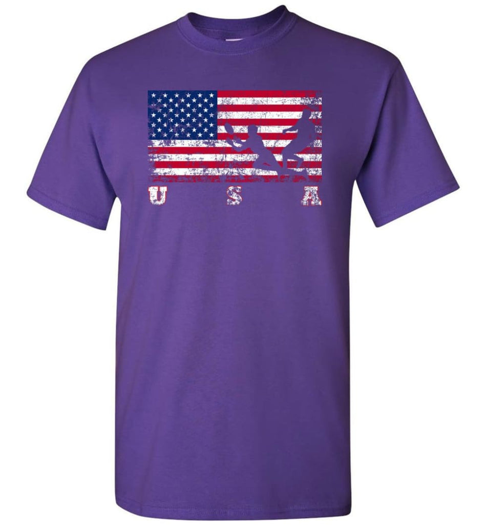 American Flag Rugby Sevens - Short Sleeve T-Shirt - Purple / S