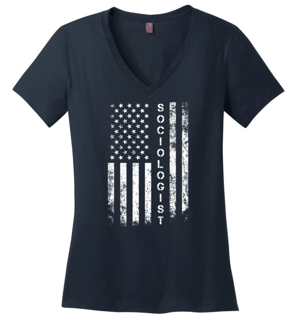 American Flag Sailor Ladies V-Neck - Navy / M