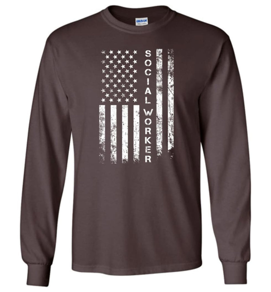 American Flag Social Worker - Long Sleeve T-Shirt - Dark Chocolate / M