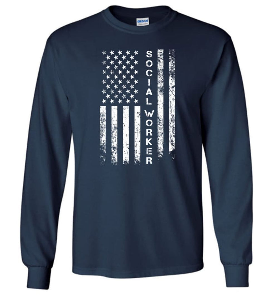 American Flag Social Worker - Long Sleeve T-Shirt - Navy / M