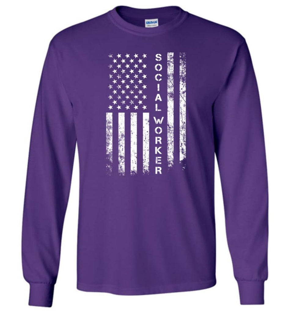 American Flag Social Worker - Long Sleeve T-Shirt - Purple / M