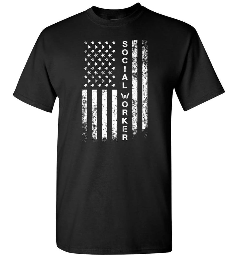 American Flag Social Worker - Short Sleeve T-Shirt - Black / S