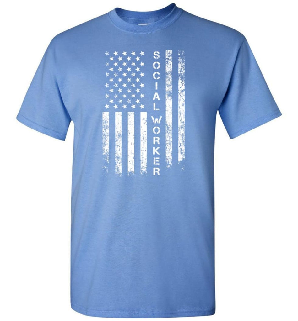 American Flag Social Worker - Short Sleeve T-Shirt - Carolina Blue / S