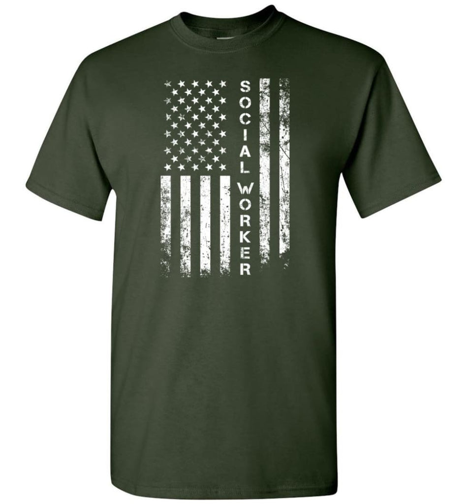 American Flag Social Worker - Short Sleeve T-Shirt - Forest Green / S
