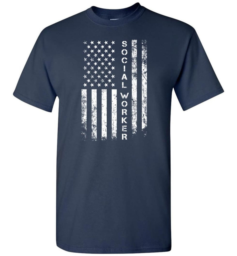 American Flag Social Worker - Short Sleeve T-Shirt - Navy / S