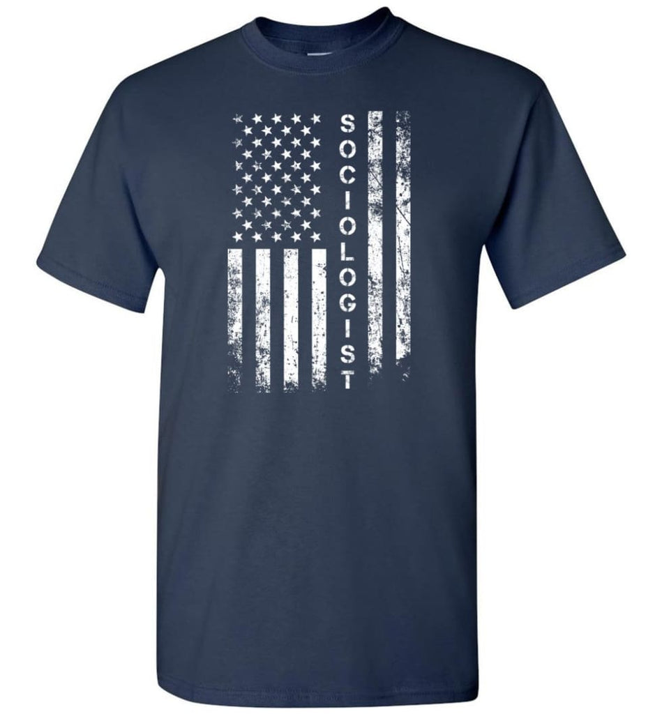 American Flag Sociologist - Short Sleeve T-Shirt - Navy / S