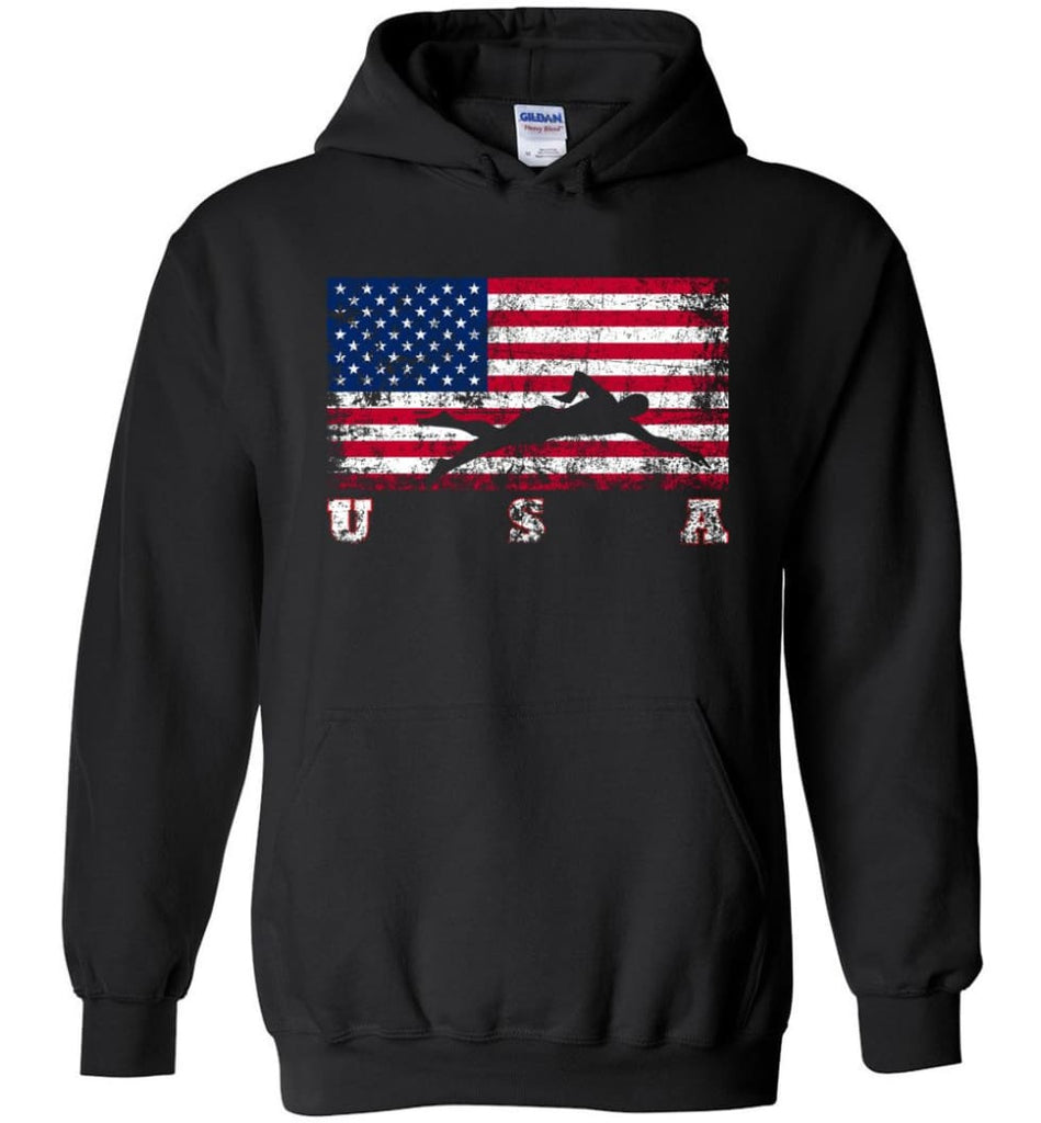 American Flag Swimming - Hoodie - Black / M