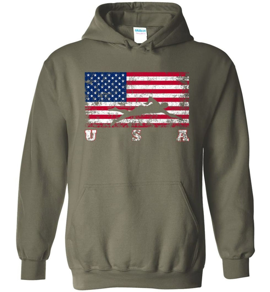 American Flag Swimming - Hoodie - Military Green / M