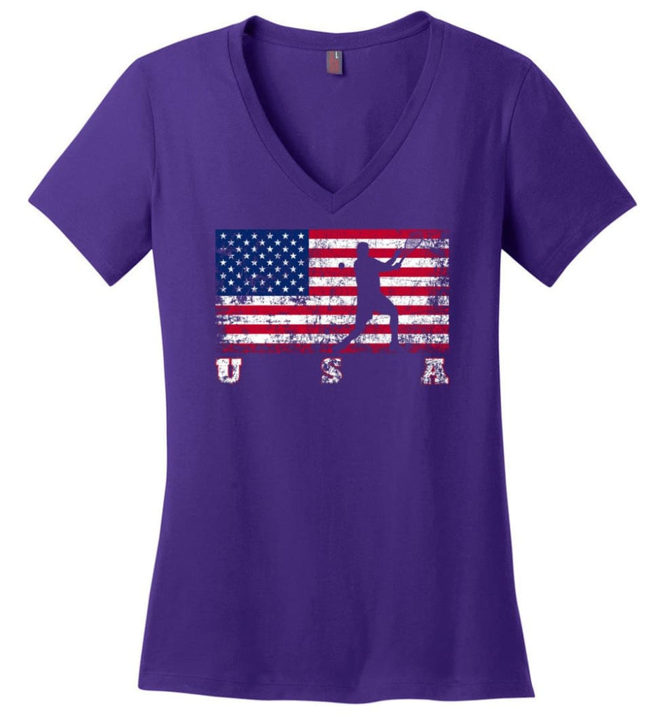 American Flag Swimming Ladies V-Neck - Purple / M