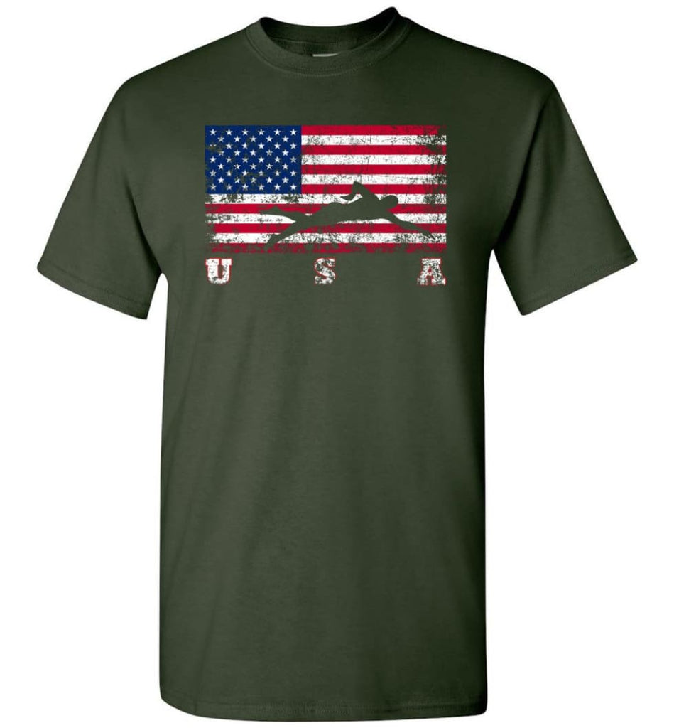 American Flag Swimming - Short Sleeve T-Shirt - Forest Green / S