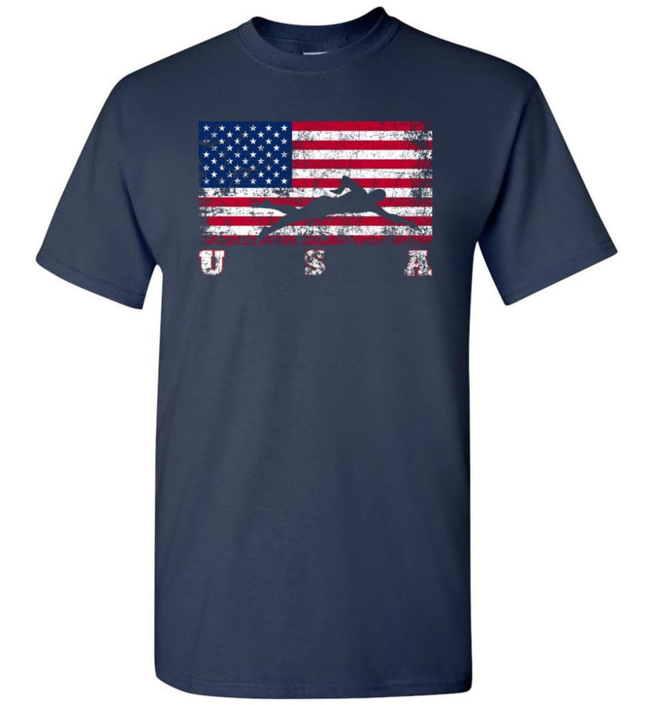 American Flag Swimming - Short Sleeve T-Shirt - Navy / S