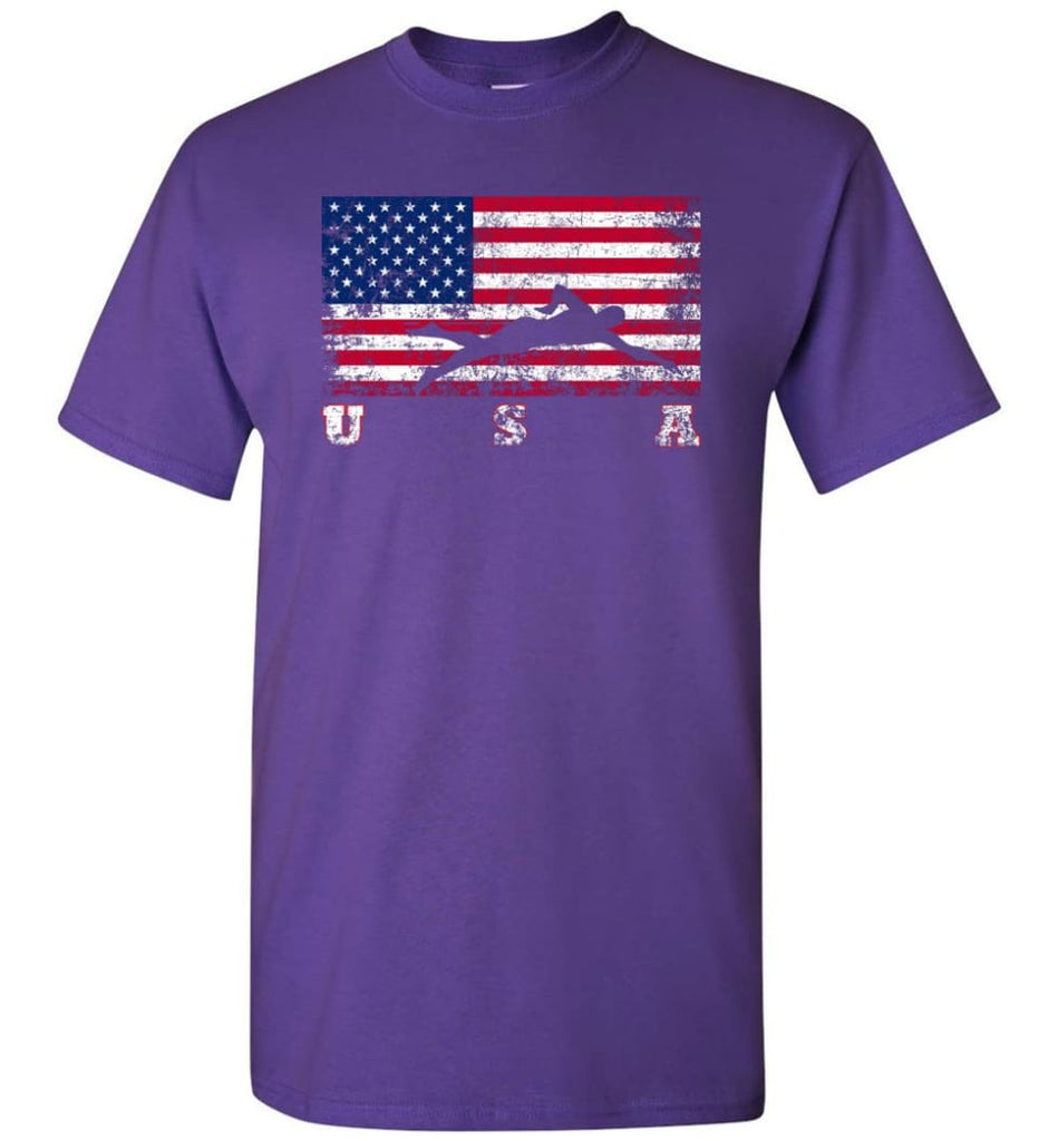 American Flag Swimming - Short Sleeve T-Shirt - Purple / S