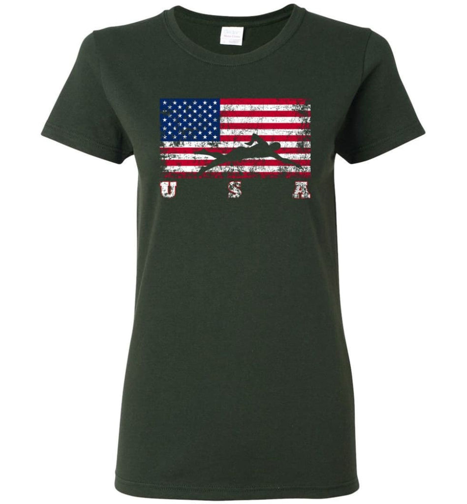 American Flag Swimming Women Tee - Forest Green / M