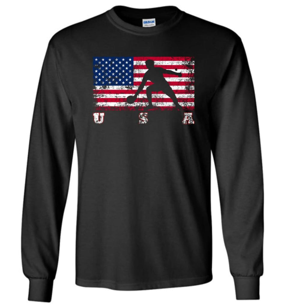 American Flag Table Tennis - Long Sleeve T-Shirt - Black / M