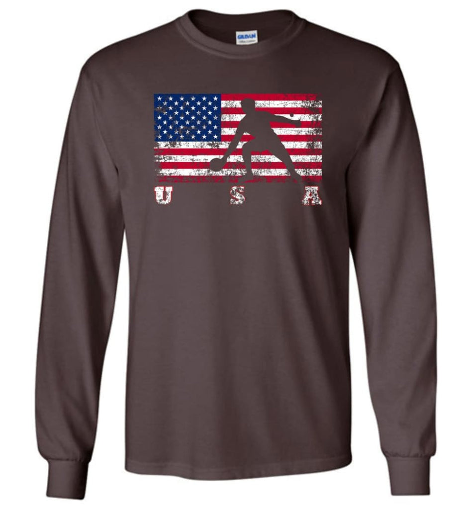 American Flag Table Tennis - Long Sleeve T-Shirt - Dark Chocolate / M