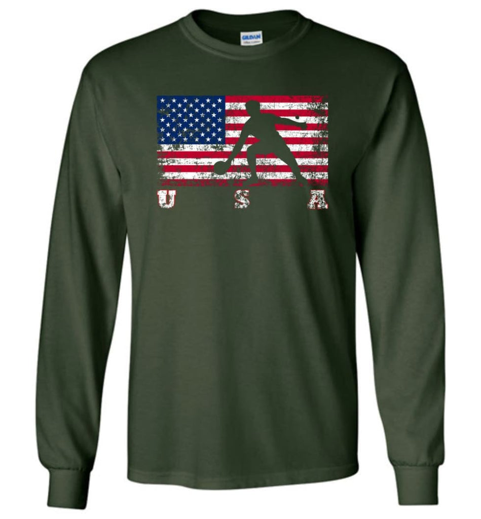 American Flag Table Tennis - Long Sleeve T-Shirt - Forest Green / M