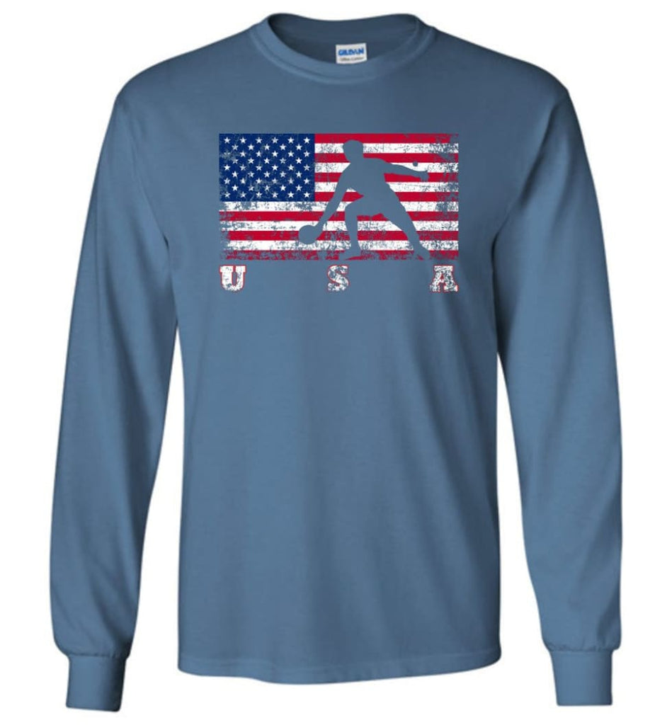 American Flag Table Tennis - Long Sleeve T-Shirt - Indigo Blue / M