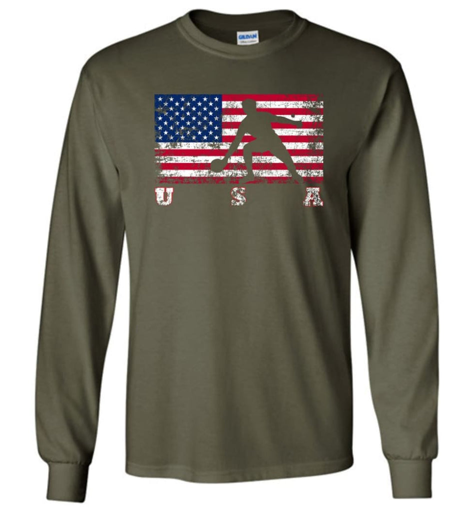 American Flag Table Tennis - Long Sleeve T-Shirt - Military Green / M