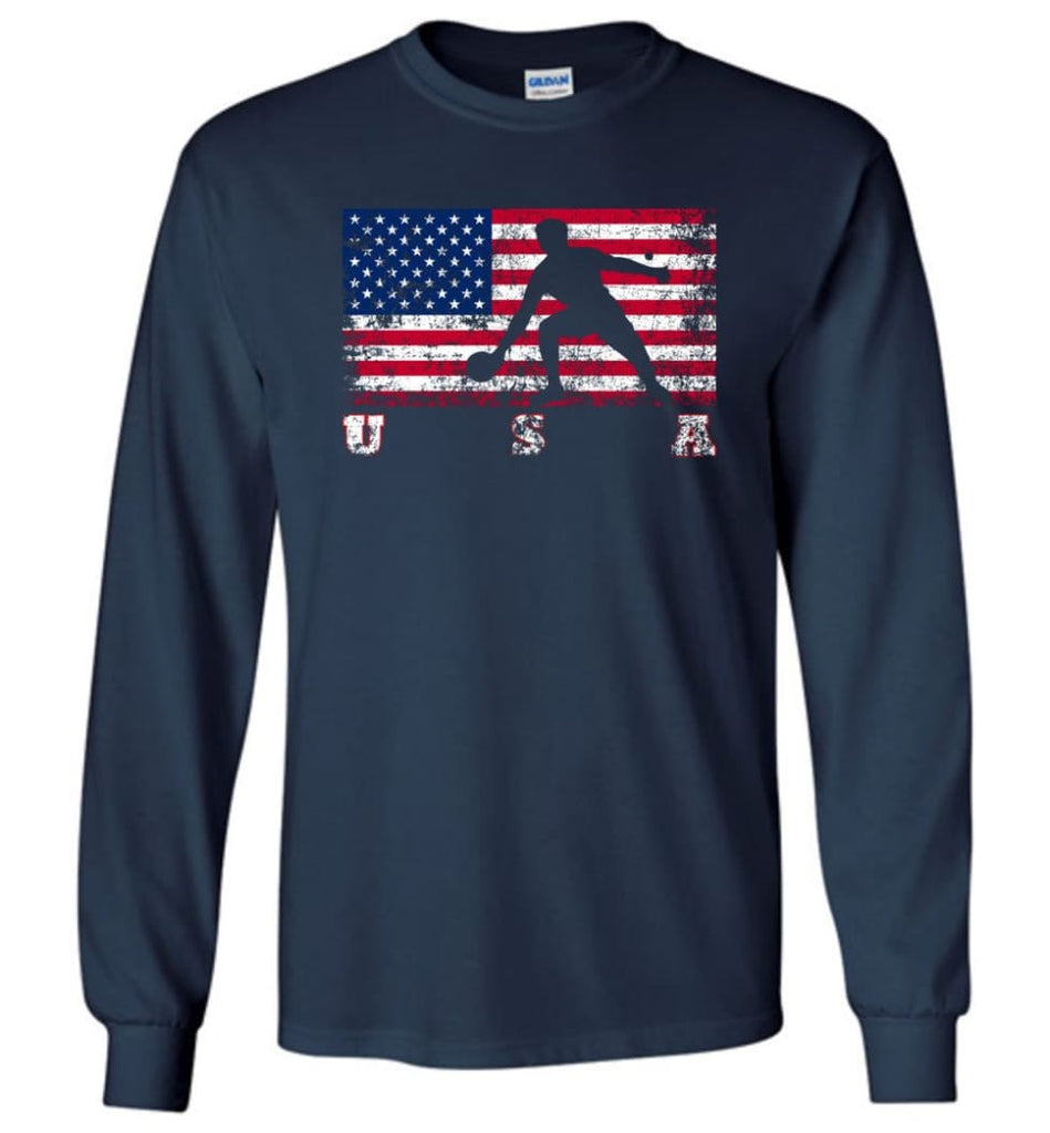 American Flag Table Tennis - Long Sleeve T-Shirt - Navy / M