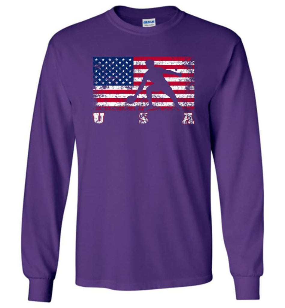 American Flag Table Tennis - Long Sleeve T-Shirt - Purple / M