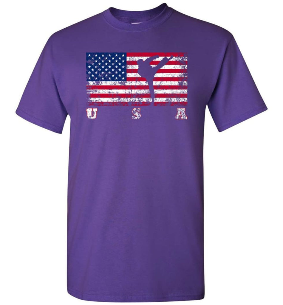 American Flag Taekwondo T-Shirt - Purple / S