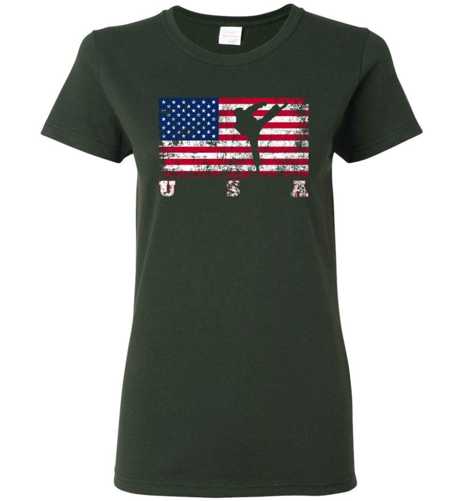 American Flag Taekwondo Women Tee - Forest Green / M