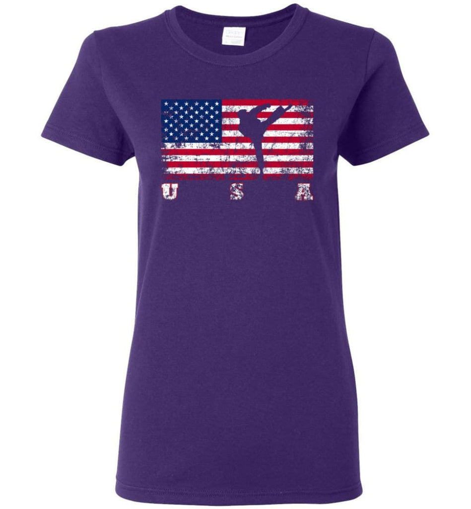 American Flag Taekwondo Women Tee - Purple / M