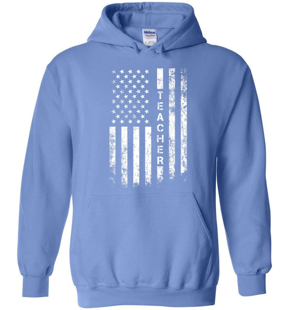 American Flag Teacher - Hoodie - Carolina Blue / M