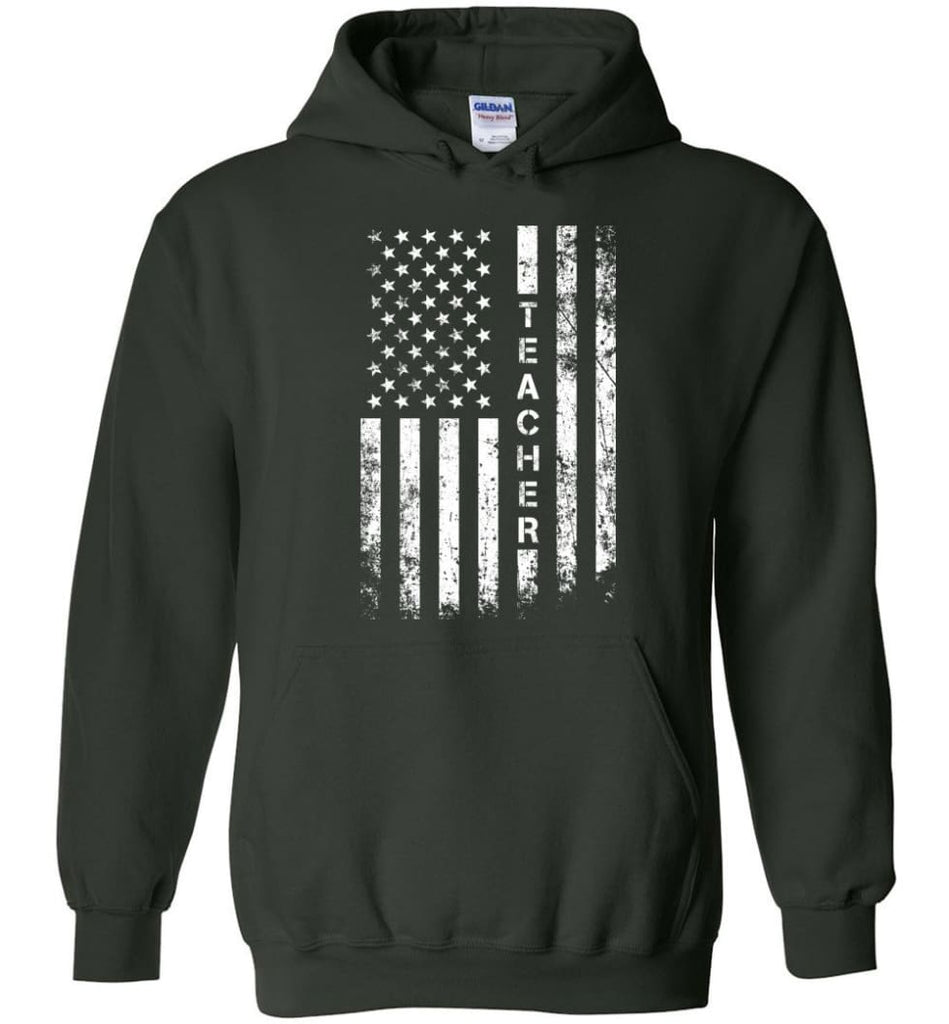 American Flag Teacher - Hoodie - Forest Green / M