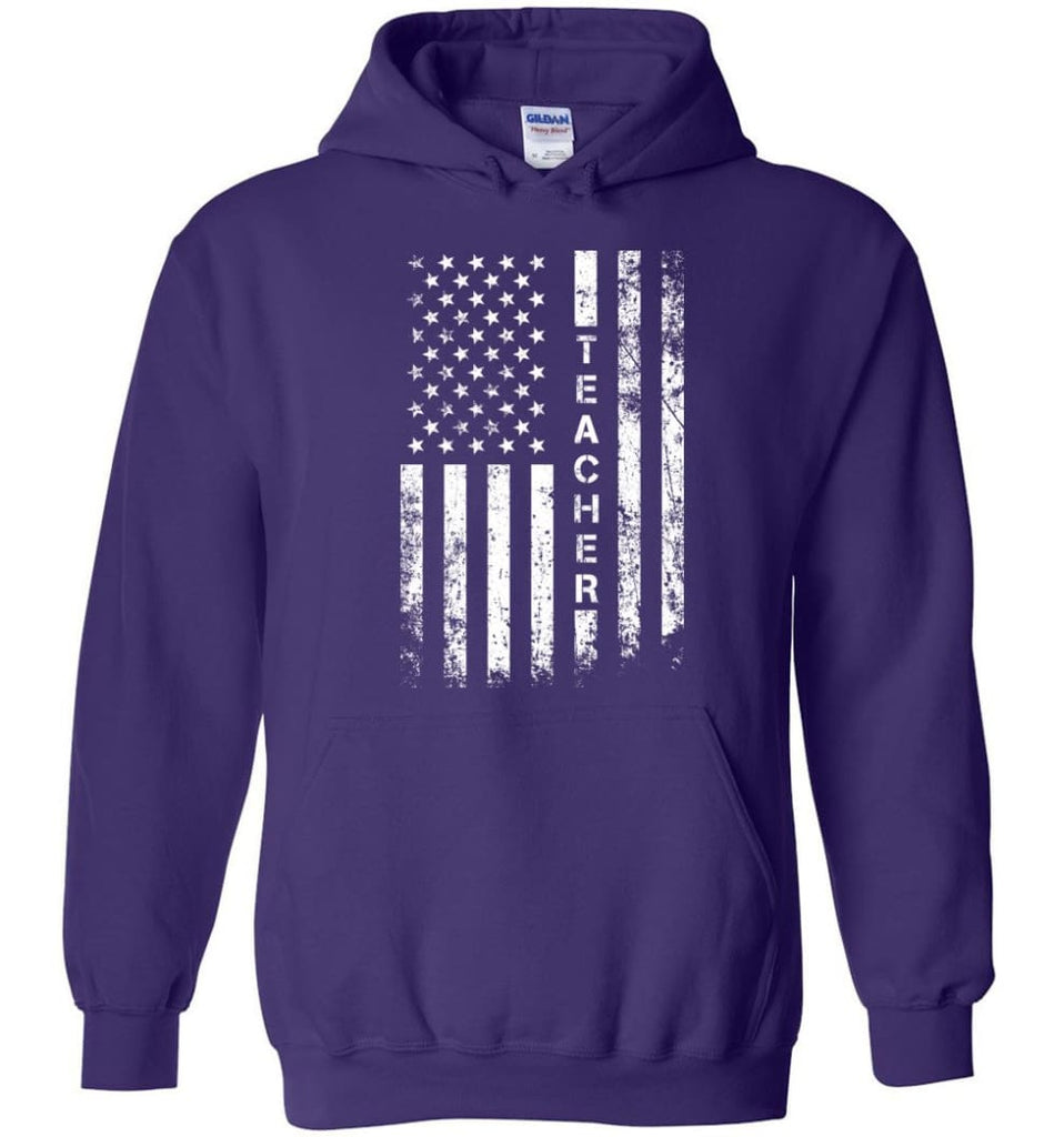 American Flag Teacher - Hoodie - Purple / M