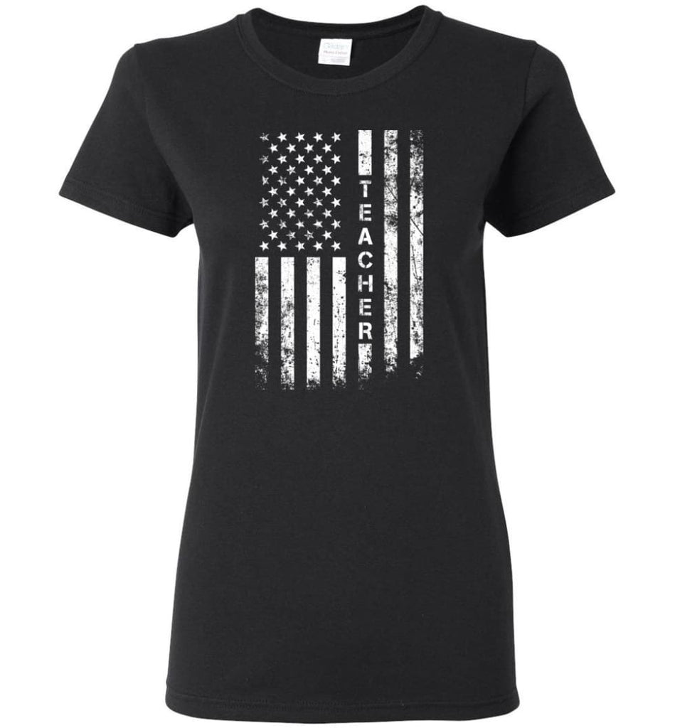American Flag Teacher Women Tee - Black / M