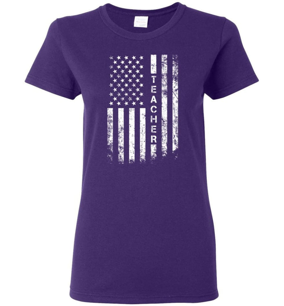 American Flag Teacher Women Tee - Purple / M