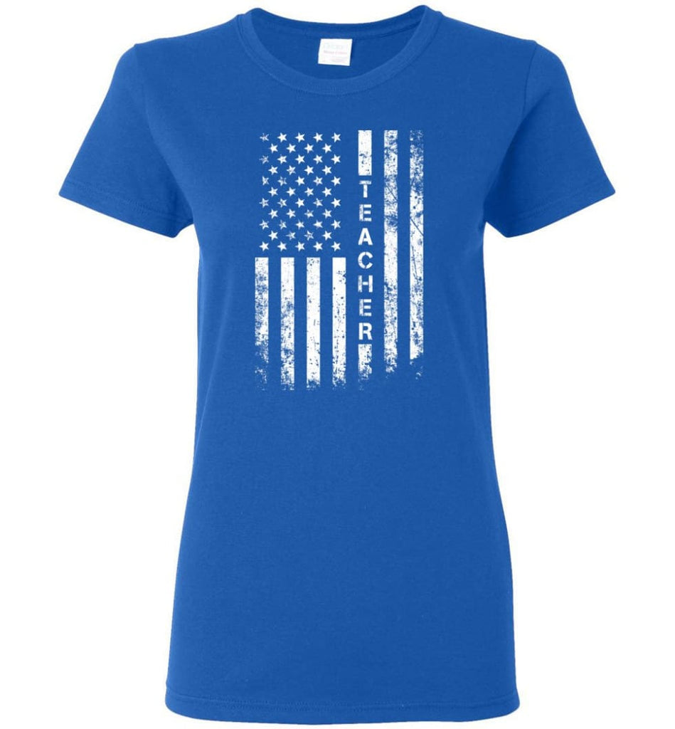 American Flag Teacher Women Tee - Royal / M
