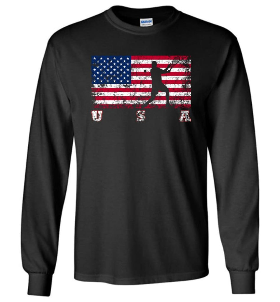 American Flag Tennis - Long Sleeve T-Shirt - Black / M