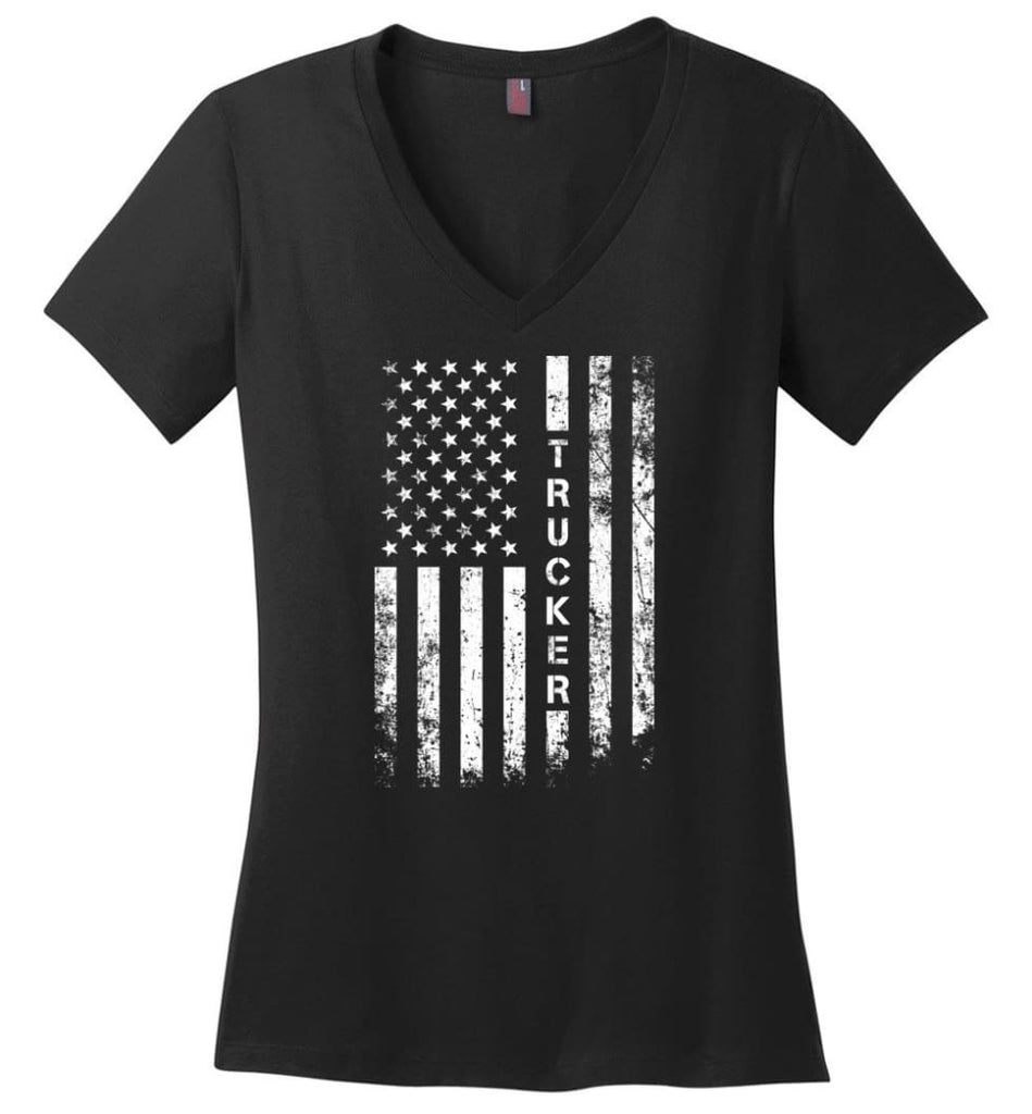 American Flag Therapist Ladies V-Neck - Black / M