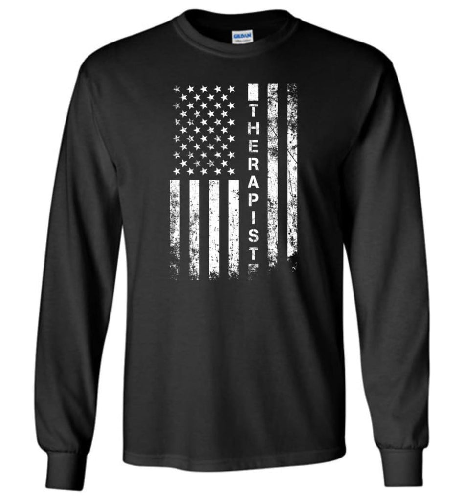 American Flag Therapist - Long Sleeve T-Shirt - Black / M