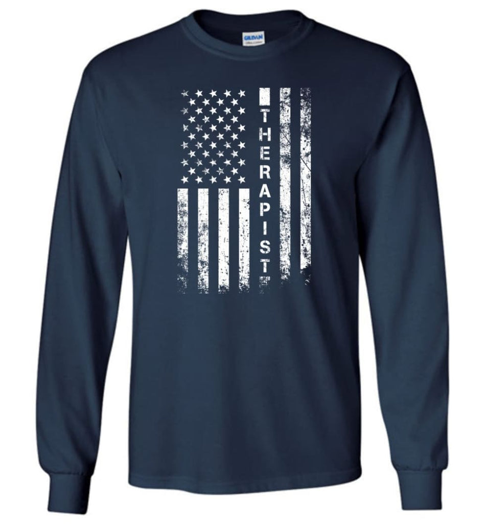 American Flag Therapist - Long Sleeve T-Shirt - Navy / M