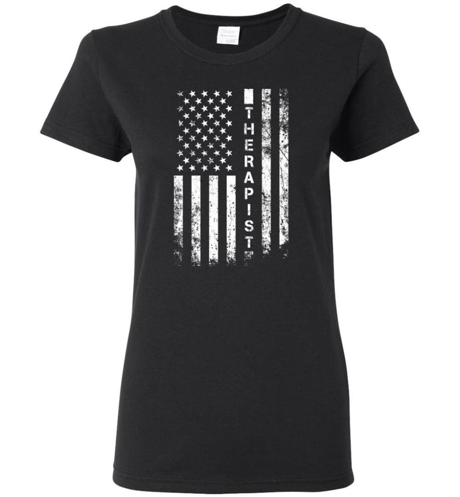 American Flag Therapist Women Tee - Black / M
