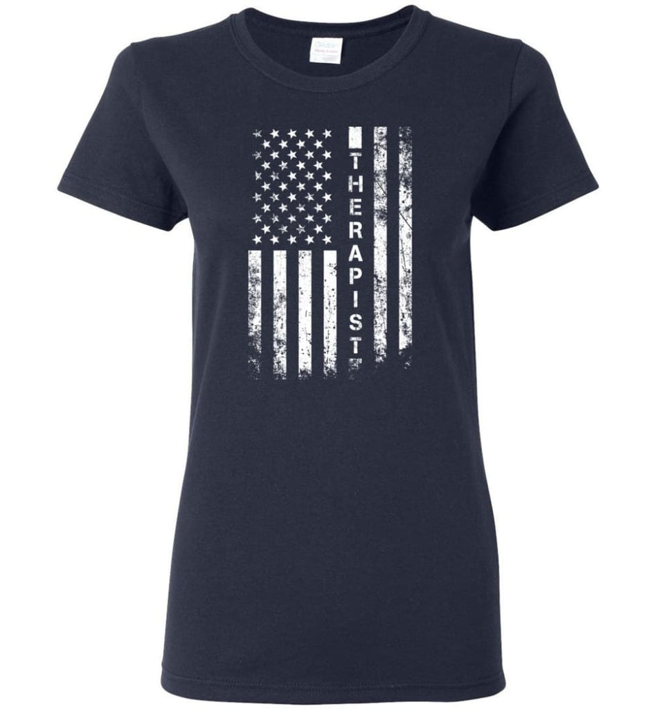 American Flag Therapist Women Tee - Navy / M
