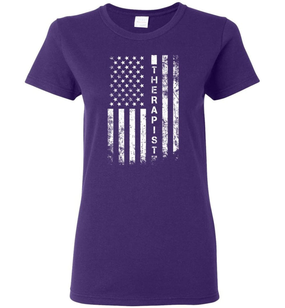 American Flag Therapist Women Tee - Purple / M