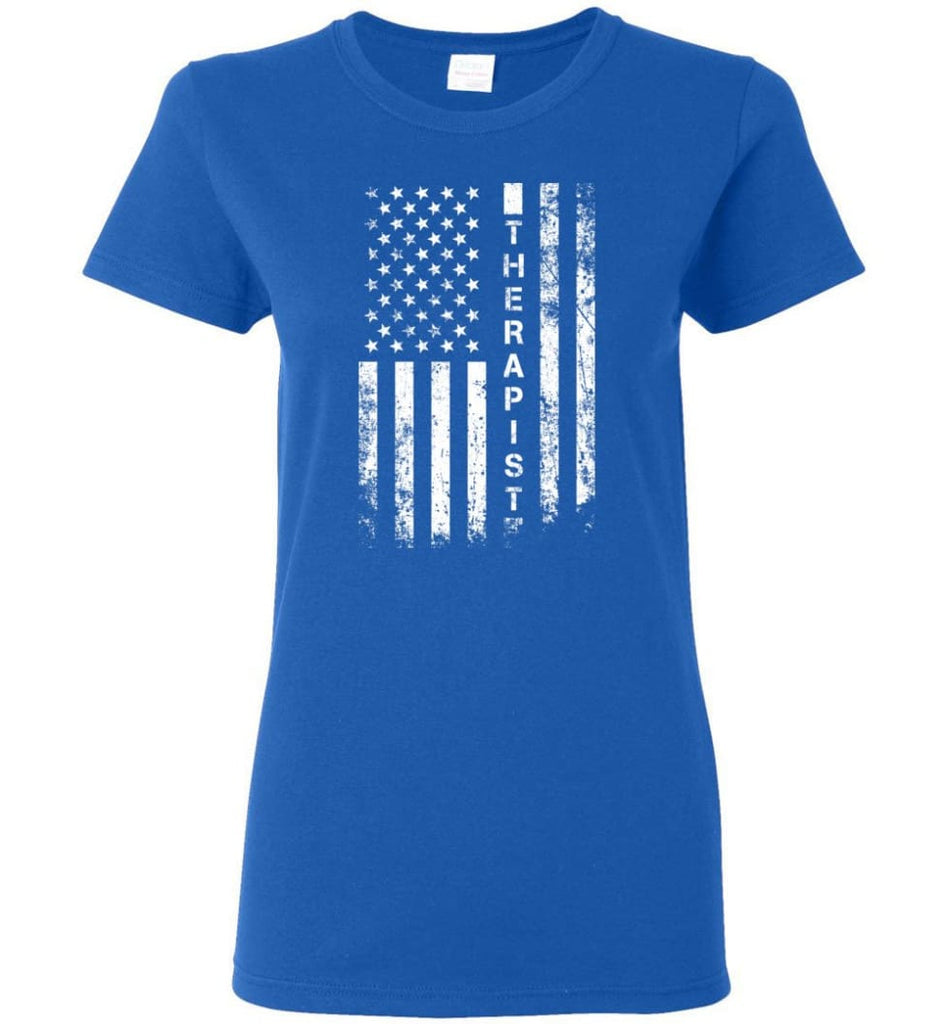 American Flag Therapist Women Tee - Royal / M