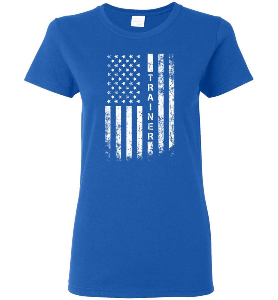 American Flag Trainer Women Tee - Royal / M