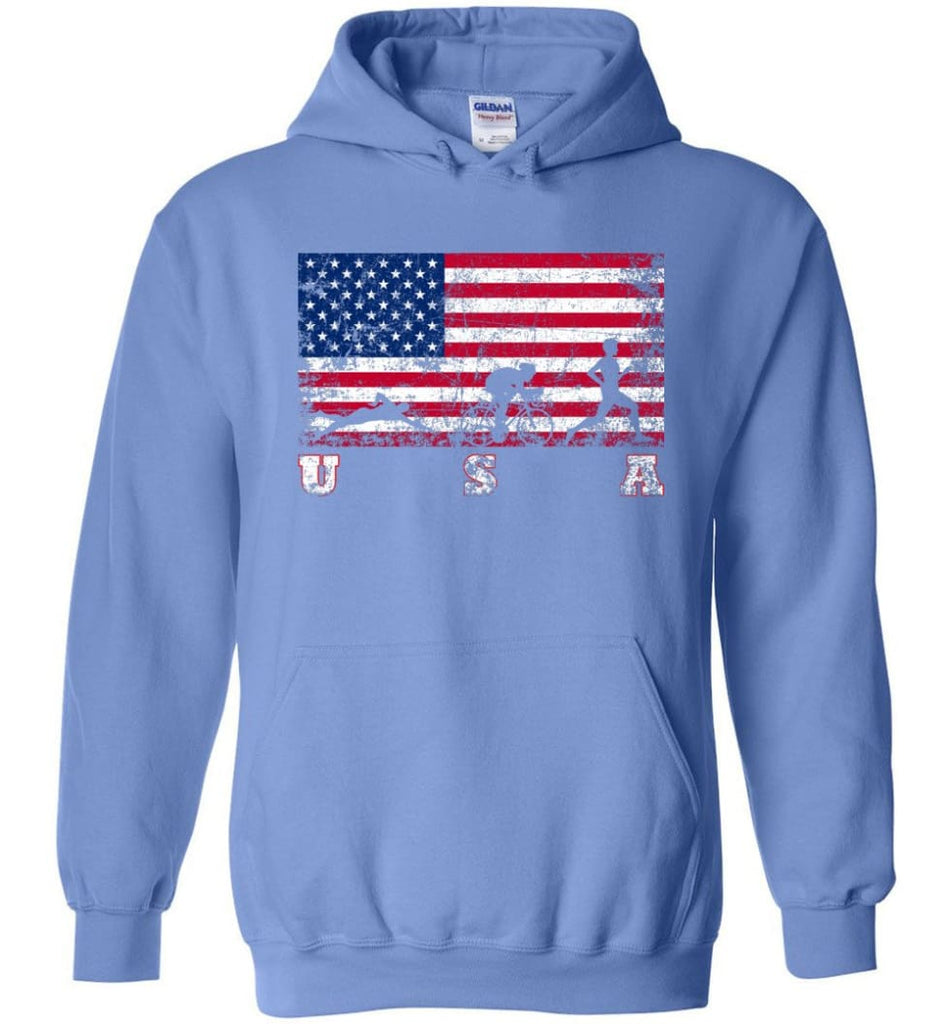 American Flag Triathlon Hoodie - Carolina Blue / M