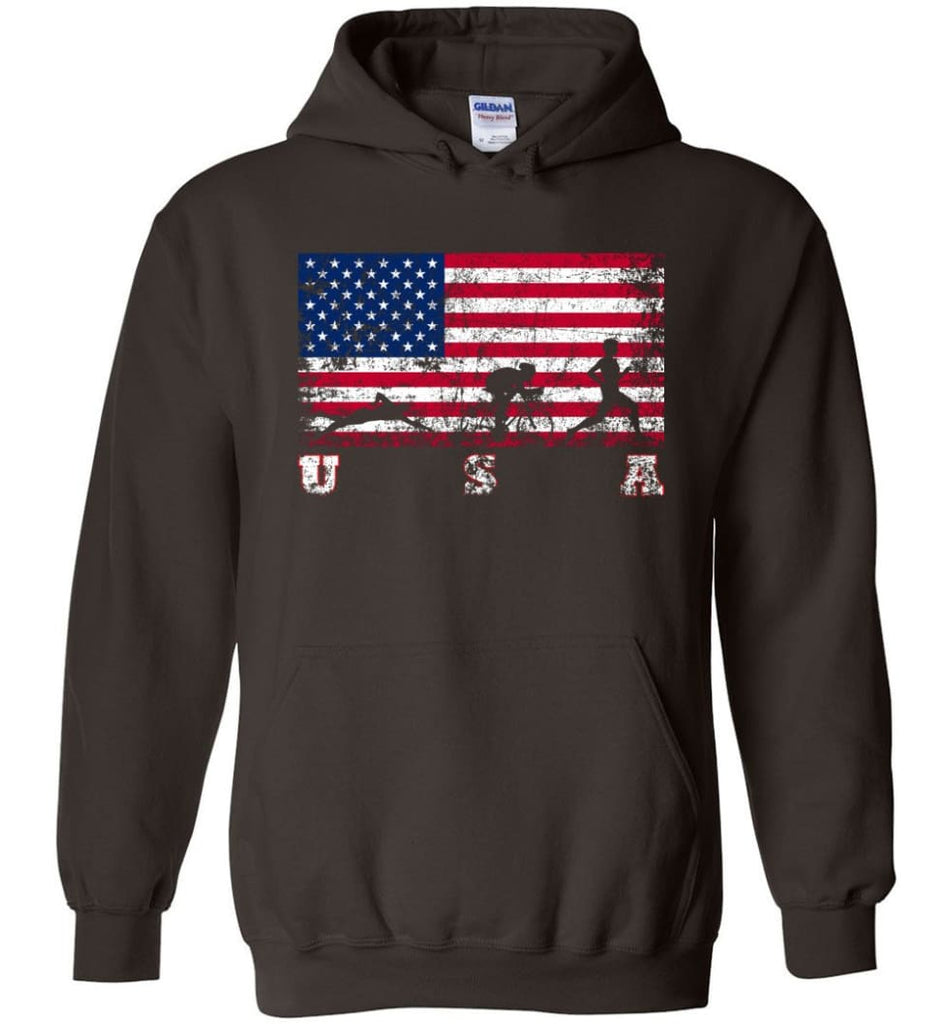 American Flag Triathlon Hoodie - Dark Chocolate / M