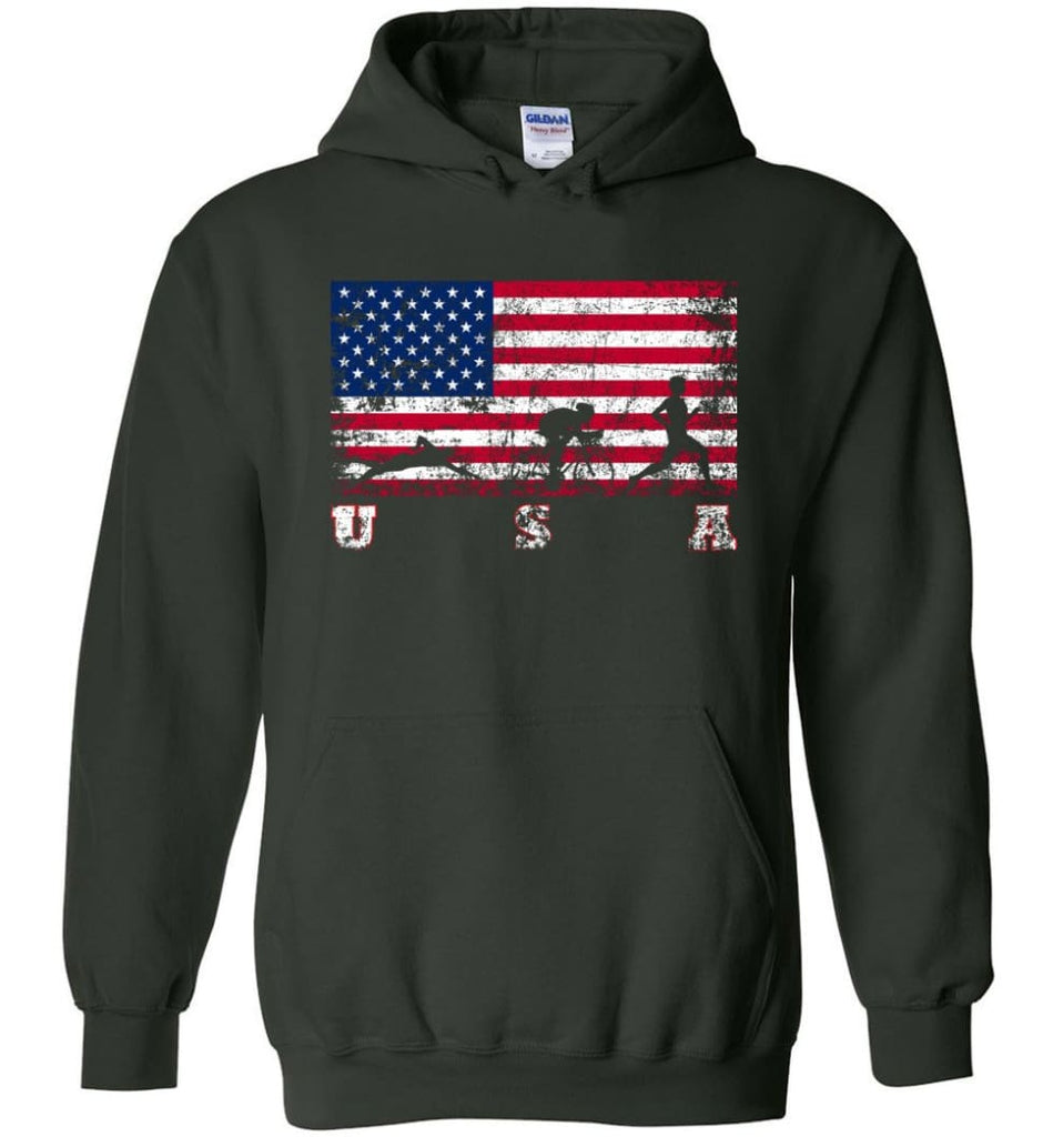 American Flag Triathlon Hoodie - Forest Green / M